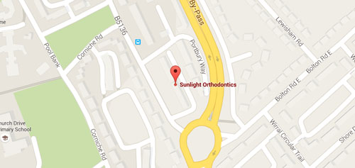Map showing location of Sunlight Orthodontics